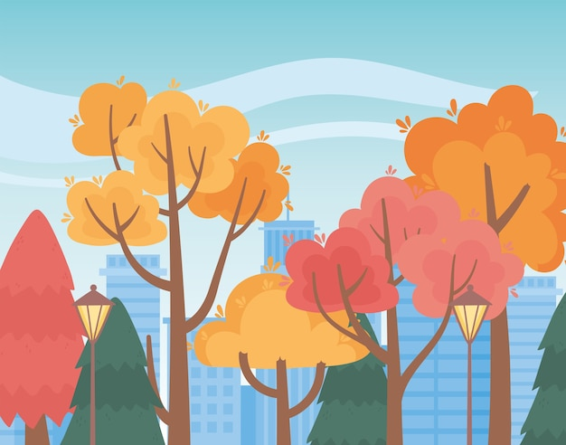 Landscape in autumn nature scene, park trees lamps and cityscape