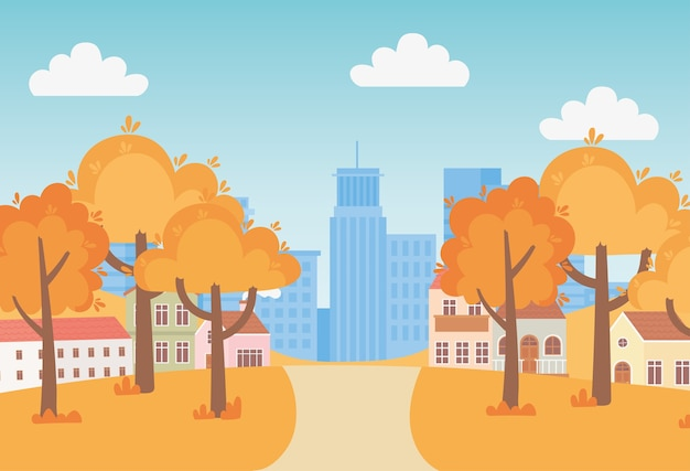 Landscape in autumn nature scene, suburban houses trees pathway and cityscape urban background