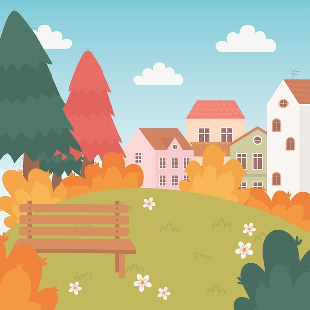 Landscape in autumn nature scene, village houses bench trees flowers grass cartoon