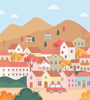 Landscape in autumn nature scene, village houses cottage in the hills trees and car cartoon