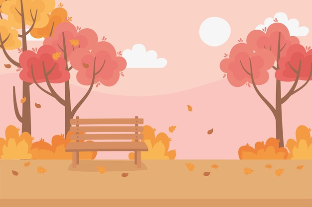 Landscape in autumn scene, fall leaves trees meadow nature bench park