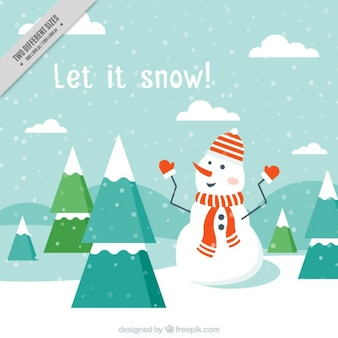 Landscape background and nice snowman with scarf