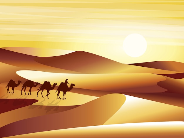 砂丘、barkhans、ラクダのイラストのキャラバンと背景の砂漠の風景。