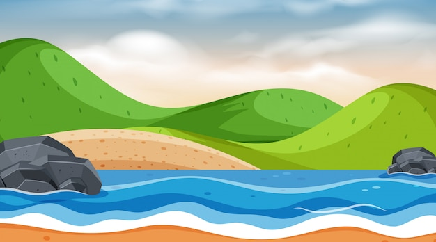 Landscape background design with mountains at sea
