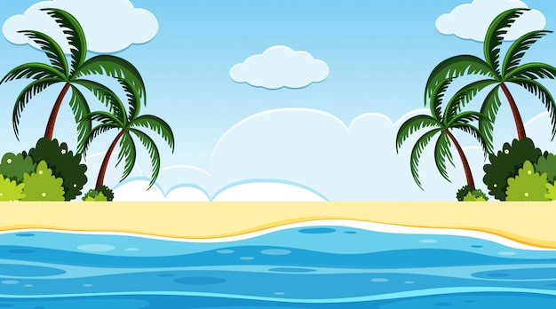 Landscape background design with ocean with trees on beach