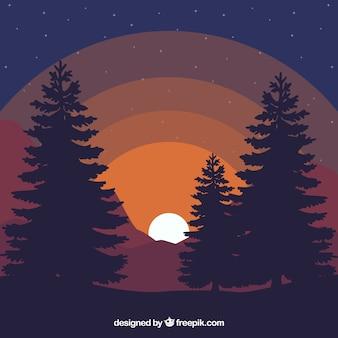 Landscape background at dusk