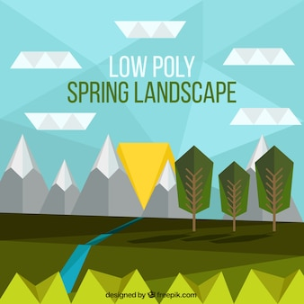Landscape background in low poly style