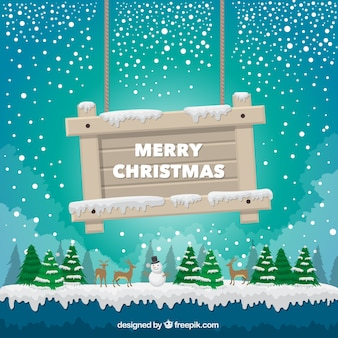 Landscape background with a sign merry christmas
