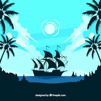 Landscape background with boat silhouette