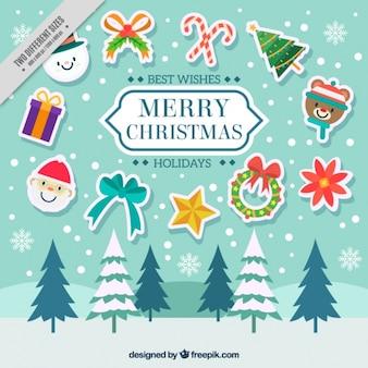 Пейзаж фон с рождественские наклейки