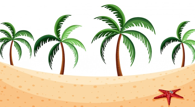 Landscape background with coconut trees on beach