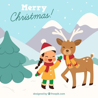 Landscape background with girl and reindeer