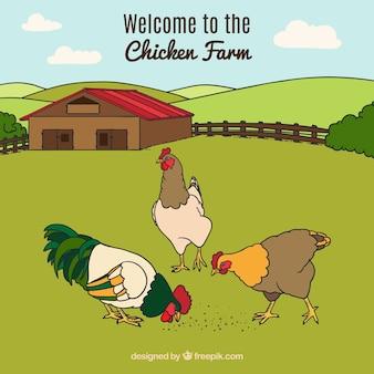 Priorità bassa di paesaggio con le galline di consumo disegnate a mano