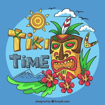 Landscape background with hand drawn tiki mask