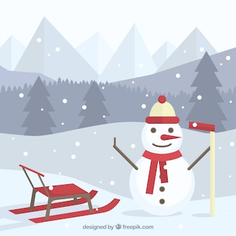 Landscape background with happy snowman and sledge