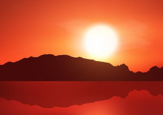 Пейзаж фон с холмами на фоне закатного неба