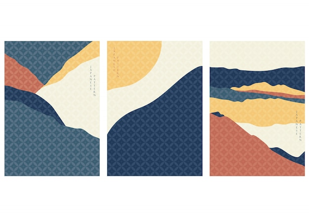 和柄の風景の背景。ビンテージスタイルの山の表紙。曲線要素。