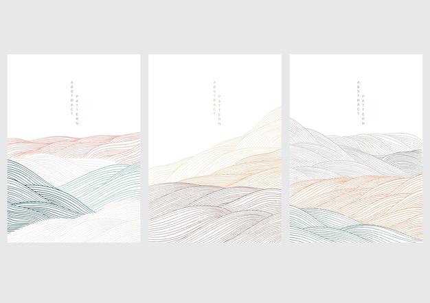 日本の波と風景の背景。ラインパターンの抽象的なテンプレート。オリエンタルスタイルのマウンテンレイアウトデザイン。
