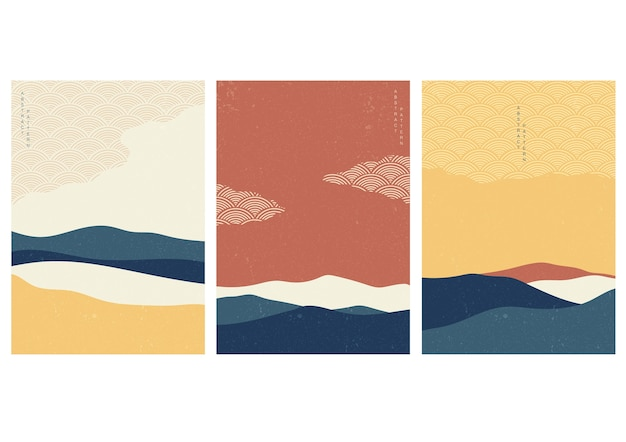 Landscape background with japanese wave pattern . abstract template with geometric pattern. mountain layout design in asian style.