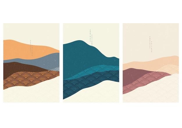 일본 웨이브 패턴으로 풍경 배경입니다. 물결 모양의 요소와 추상 템플릿입니다. 아시아 스타일의 산 레이아웃 디자인.