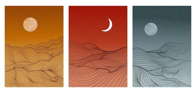 セットに線画パターンベクトルと風景の背景。幾何学模様の抽象的な山のテンプレート。印刷、カバー、ポスター、ファブリックのデザイン。ベクトルイラスト