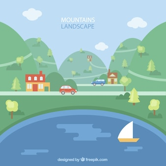 Landscape background with mountains and river in flat design