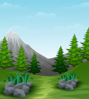 Landscape background with mountains