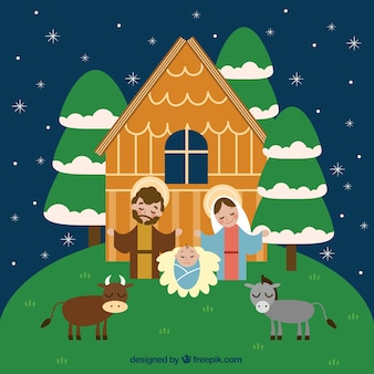 Landscape background with nativity scene