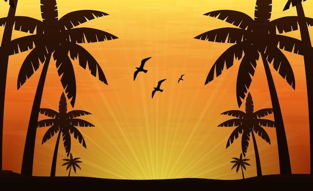 열 대 해변에서 야자수와 풍경 배경