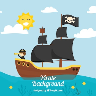 Landscape background with pirate ship