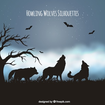 Landscape background with silhouette of wolves and bats