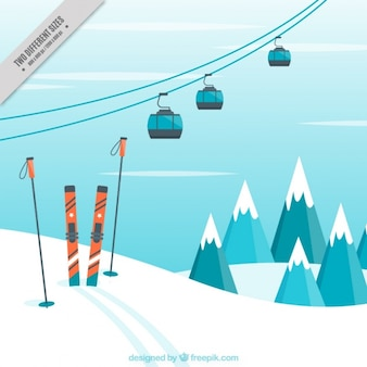 Landscape background with ski accessories