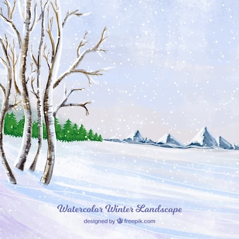 Пейзаж фон со снегом