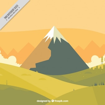 Landscape background with snowy mountain in flat design