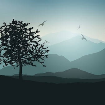 Landscape background with trees and birds