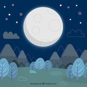 Sfondo paesaggio con alberi e montagne e la luna