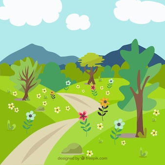 Landscape background with trees and path