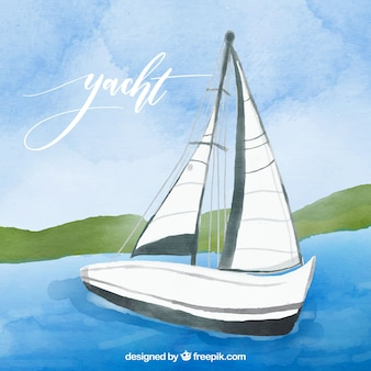 Landscape background with watercolor boat