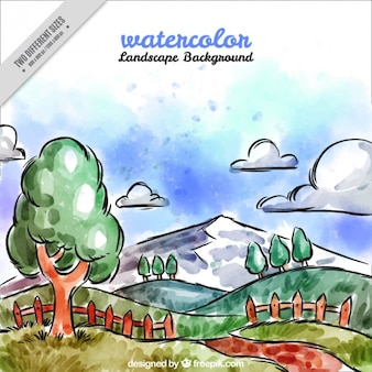 Landscape background with watercolors