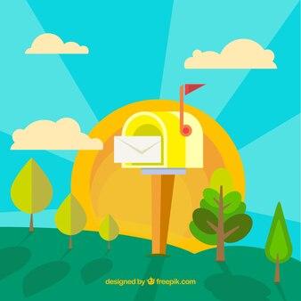 Sfondo paesaggio con la cassetta postale giallo in design piatto