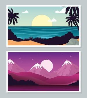 가로 배너 컬렉션 디자인, 자연 및 야외