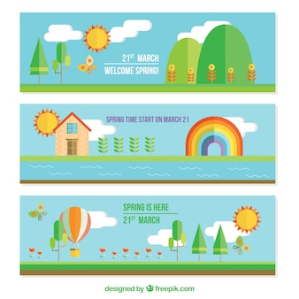 Landscape banners in flat design