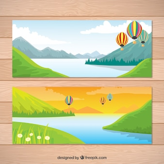 Landscape banners with lake and balloons
