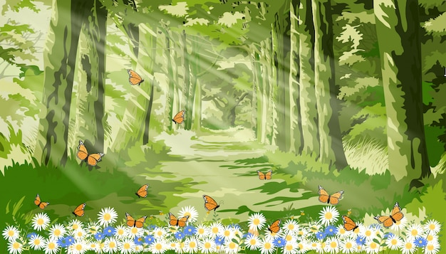 Landscape of beautiful illustration of nature with sun light shining in morning forest foliage, fantasy cartoon of green forest with butterfly and bee flying over daisy field