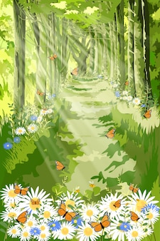 Landscape of beautiful illustration of nature with sun light shining in morning forest foliage,fantasy cartoon of green forest with butterfly and bee flying over daisy field