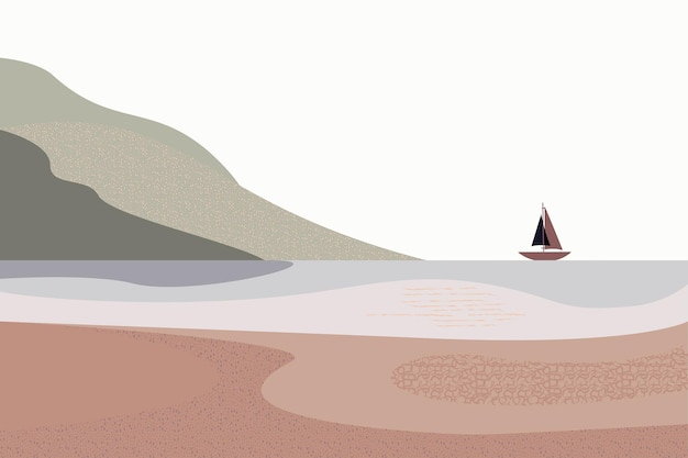 Landscape brown color sky mountains ship style of minimalist hand drawn panorama