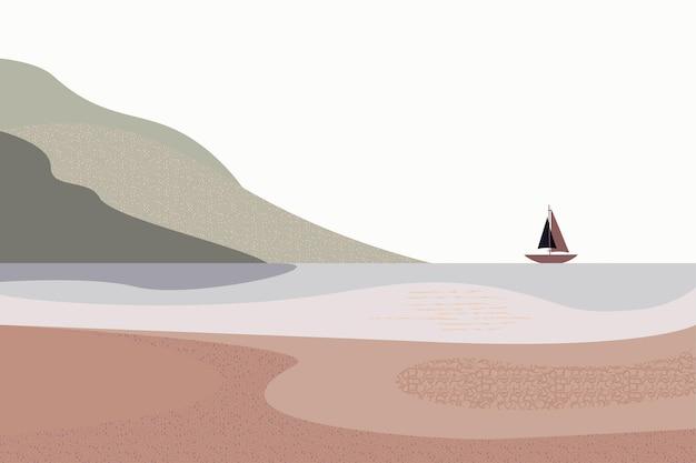 ミニマリストの手描きのパノラマの風景茶色の空の山の船のスタイル