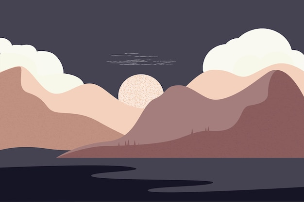 Landscape in brown tones sky mountains river night style of minimalist  hand drawn panorama