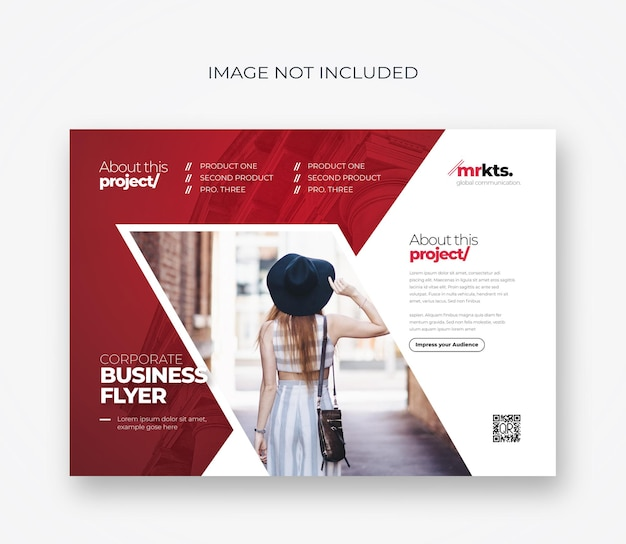 Landscape business flyer with red accent