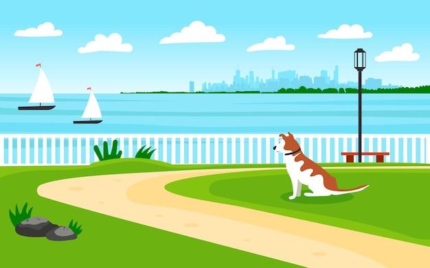 바다 풍경입니다. 바닷가. 개가 해안까지 먼 곳을 쳐다본다